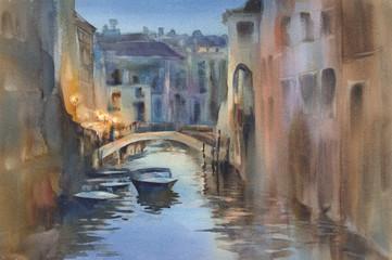 Venetian night lights watercolor landscape. A canal with gondolas under the bridge