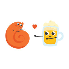 Vector illustration of twisted sausage and glass of beer cartoon characters stretching their arms to each other to embrace with love in flat style isolated on white background.