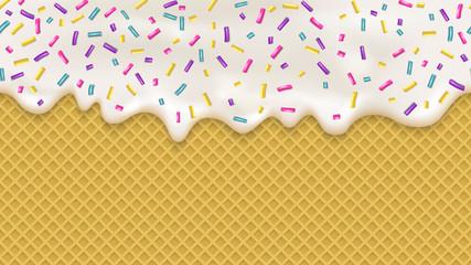 Realistic white cream and wafer for wallpaper design. Vector sea