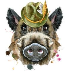 Watercolor portrait of wild boar with green hat