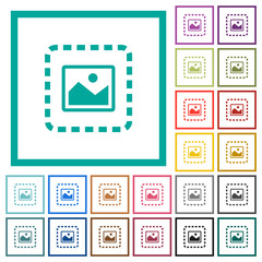 Place image flat color icons with quadrant frames