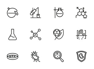 Experiment line icon set. Beakers, molecule structure, bacteria. Science concept. Can be used for topics like lab test, chemistry, microbiology