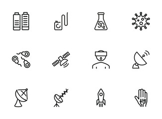 Science line icon set. Set of line icons on white background. Space concept. Antennae, satellite, rocket. Vector illustration can be used for topics like space ship, space travelling, science