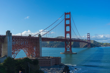 Beautiful scene of Golden Gate bridge looking from Battery East Trail in San Francisco, California.