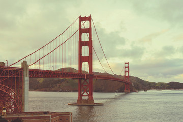 Beautiful twilight scene of famous Golden Gate bridge in San Francisco, California,USA