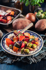 Roasted vegetables with rice on a plate