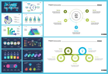Creative business presentation slide for management concept. Can be used for business project, annual report, web design. Pie chart, process chart, venn chart, bar graph, flowchart, comparison diagram