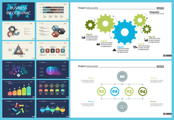 Set of sales or production concept infographic charts. Business design elements for presentation slide templates. For workflow report, advertising, banner, and brochure design.
