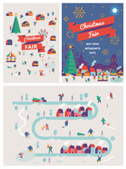 Christmas market and holiday fair posters. Winter season background people characters. Winter outdoor activities. Flat vector illustration.