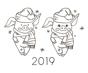 Cute pig illustration for coloring book. 2019 Vector