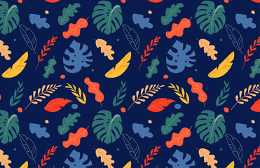 Seamless tropical leaves pattern, jungle colorful background. Vector design