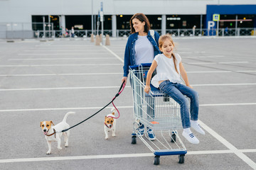 Outdoor shot of happy mother and her little daughter walk with dogs on leash, carry cart, return from shopping mall, have free time during day off. Family, pets and making purchases concept.