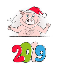 Vector illustration, Happy New Year 2019 funny card design with cartoon pig print. Merry Christmas