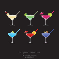 Margarita banana,  strawberry  and Blueberry , Fresh Blackberry Margarita cocktail, Margarita  classic  and Moonlight vector set for web and print