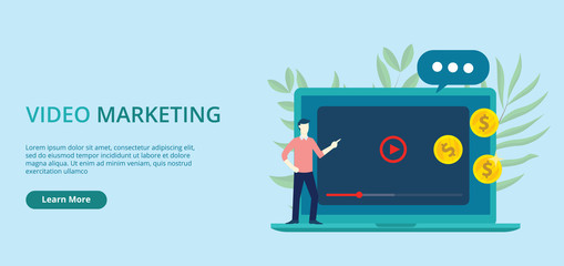 video marketing concept banner with free space for text