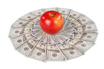 Apple on mandala kaleidoscope from money.