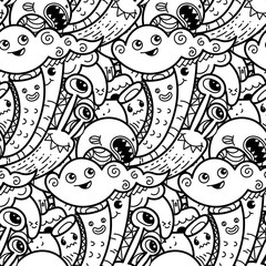 Funny doodle monsters seamless pattern for prints, designs and coloring books