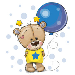 Cute Cartoon Teddy Bear with Balloon