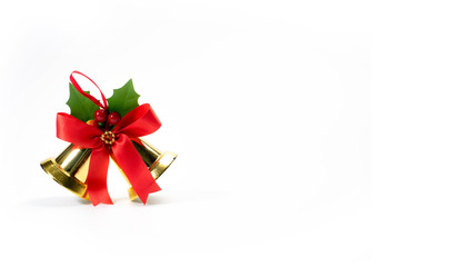 bells with a red bow isolated on white background. Christmas decoration