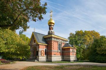 Die Russische Kirche im Kurpark von Bad Homburg, Taunus, Hessen, Deutschland