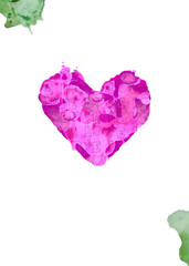 watercolor island of love. watercolor heart. card for Valentine's Day