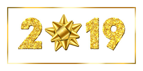 Happy New year card. 3D gift ribbon bow, gold number 2019 isolated white background. Golden texture Christmas glitter design. Holiday celebration, decoration, greeting banner. Vector illustration