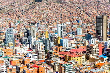 Nuestra Senora de La Paz colorful city town center with lots of