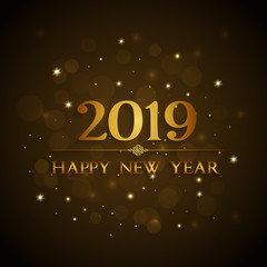 Happy new year gold card. 2019 background.