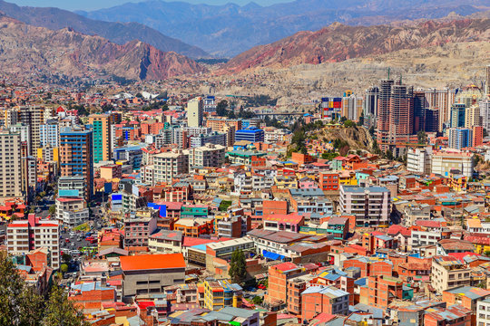 Nuestra Senora de La Paz rapidly growing colorful city suburbs w
