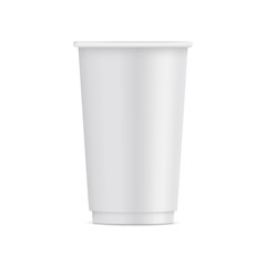 Tall paper disposable cup mock up isolated on white background - front view. Vector illustration