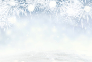 Fototapete - Winter Fireworks and bokeh with snowflake in New Year eve and copy space. Abstract background holiday.