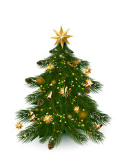 Christmas tree with xmas decorations - ornaments, stars, garlands, snowflakes, lamps.