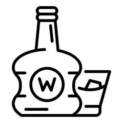 Premium whisky bottle icon. Outline premium whisky bottle vector icon for web design isolated on white background
