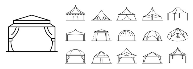 Fototapeta Canopy icon set. Outline set of canopy vector icons for web design isolated on white background