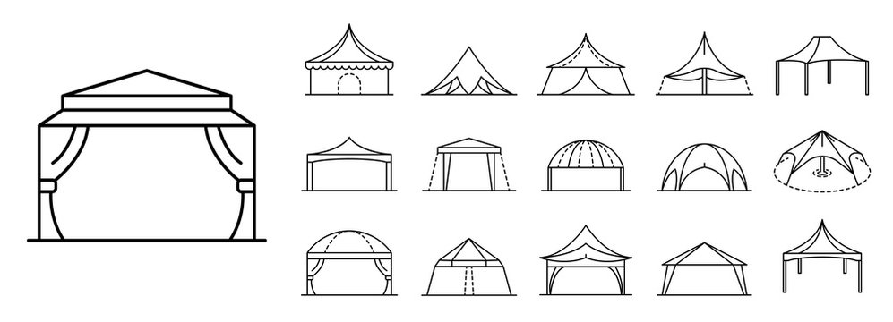 Canopy icon set. Outline set of canopy vector icons for web design isolated on white background