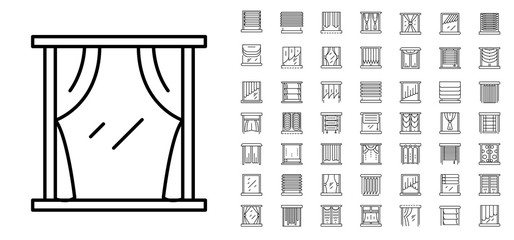Blind window icon set. Outline set of blind window vector icons for web design isolated on white background Wall mural