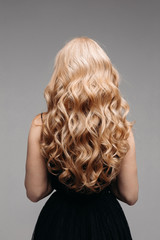 Beautiful female curly blond hairs - back view.