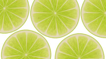 lemon round slices on white background