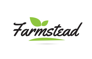 green leaf Farmstead hand written word text for typography logo design
