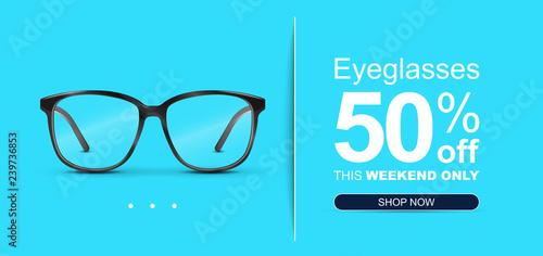 935fffad6e Eyeglasses Sale Banner Concept.