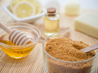 skin care natural products ingredients for scrub body mask: honey, lemon juice, brown sugar, almonds oil 1