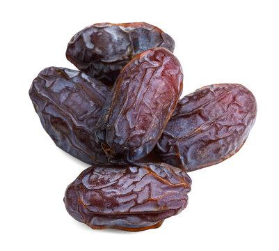 big ripe dates heap isolated on white background