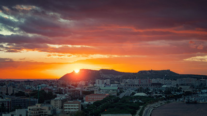"Cagliari skyline with "" Sella del Diavolo "" hill at sunrise"