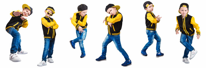 The  boy in the style of Hip-Hop . Children's fashion.Cap and jacket.  Wall mural