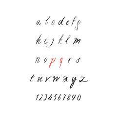 handwritten brush script, calligraphy alphabet on white background. Hand drawn letters