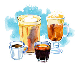 Coffee drinks watercolor illustration. Hand drawn sketch compositionwith four cups of different drinks and blue stain