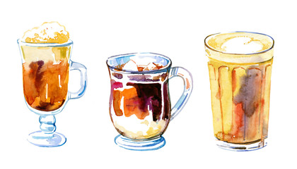 Coffee drinks watercolor set. Hand drawn sketch illustration with three glass mugs