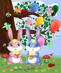 Two cute bunny in a forest glade. Boy and girl, concept spring, love, postcard