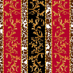 Baroque seamless pattern with golden leaves and chains. Striped patch for scarfs, print, fabric.