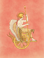 Ares, Mars, god of the war and warrior, armed with his feather helmet and spear sitting on a golden winged serpents chariot - Inspired on ancient classic greek pottery and ceramics red-figure drawings